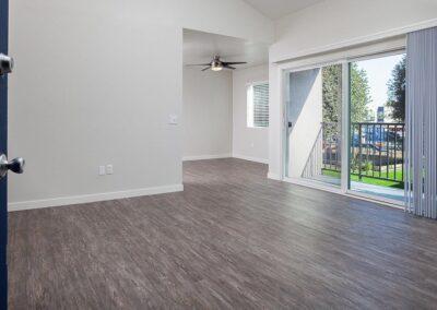 Open door into empty living room